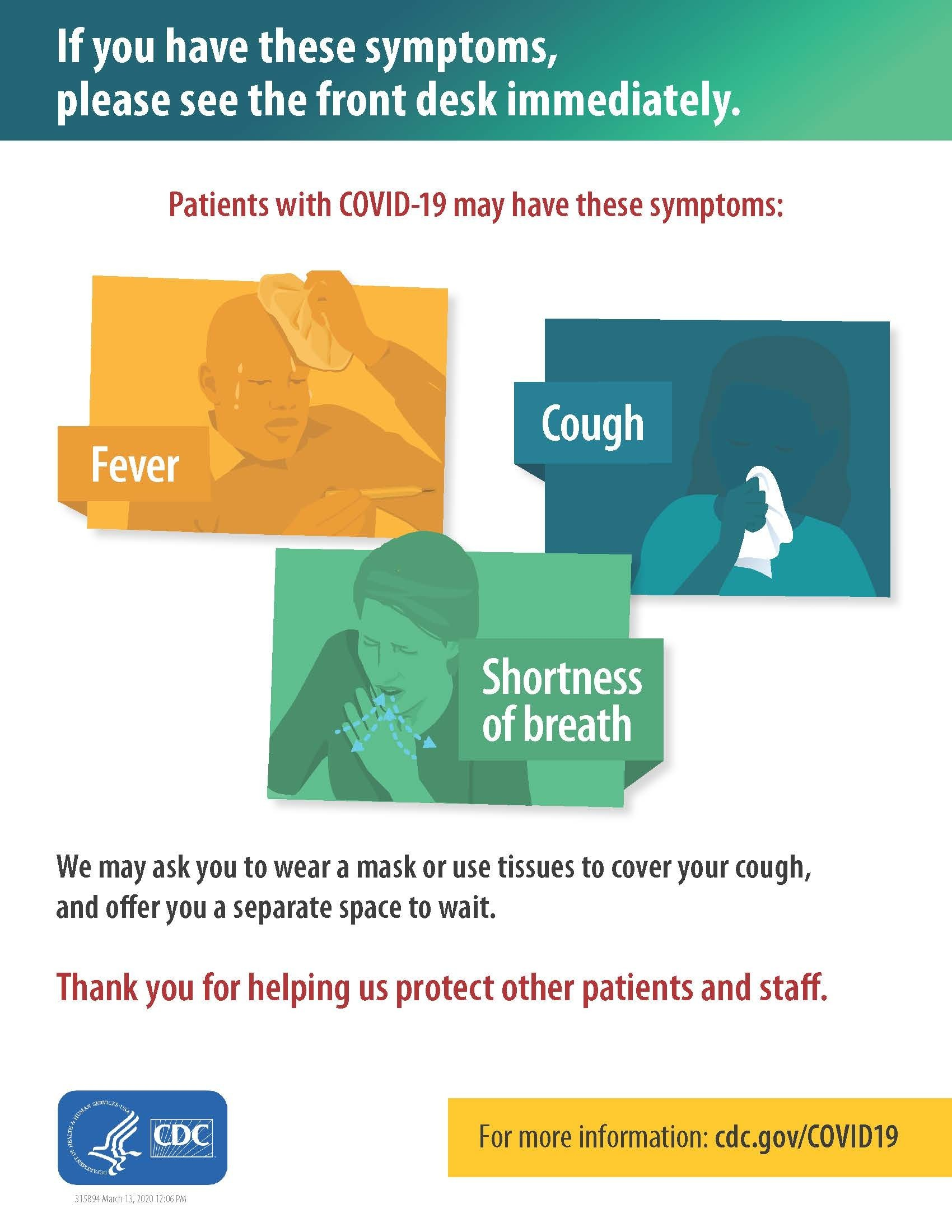Refer Patients with Respiratory Symptoms to the Front Desk Poster
